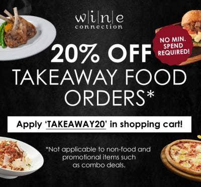 20% OFF FOOD TAKEAWAY ORDERS*